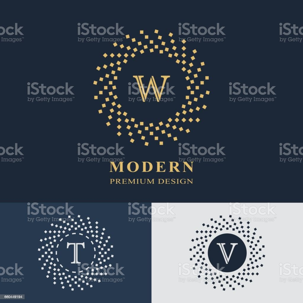 Modern logo design. Geometric linear monogram template. Letter emblem W, T, V. Mark of distinction. Universal business sign for brand name, company, business card, badge. Vector illustration vector art illustration