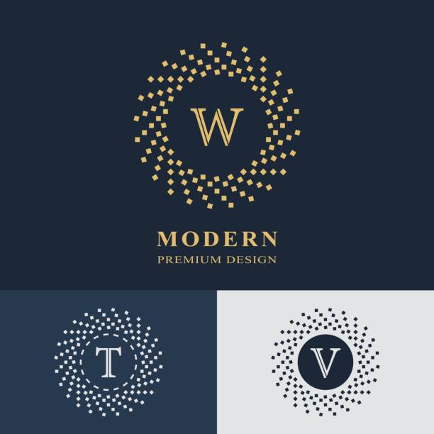 Modern logo design. Geometric linear monogram template. Letter emblem W, T, V. Mark of distinction. Universal business sign for brand name, company, business card, badge. Vector illustration vector art illustration