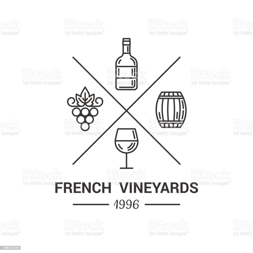 Modern logo for wine and winery. vector art illustration