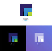 Cool geometric forms. Gradient. Square logotype.