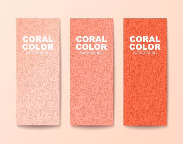 Modern look banner with ornament Three shades of coral color.Textured modern look banners with tangled pattern. Vector illustration coral colored stock illustrations