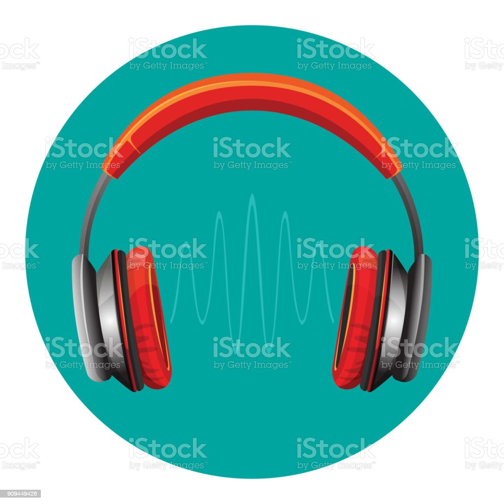 Modern loud headphones with sound wave between speakers vector art illustration