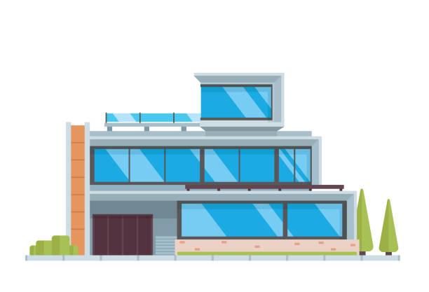 moderne luxus zeitgenössischen hausbau illustration - villas stock-grafiken, -clipart, -cartoons und -symbole