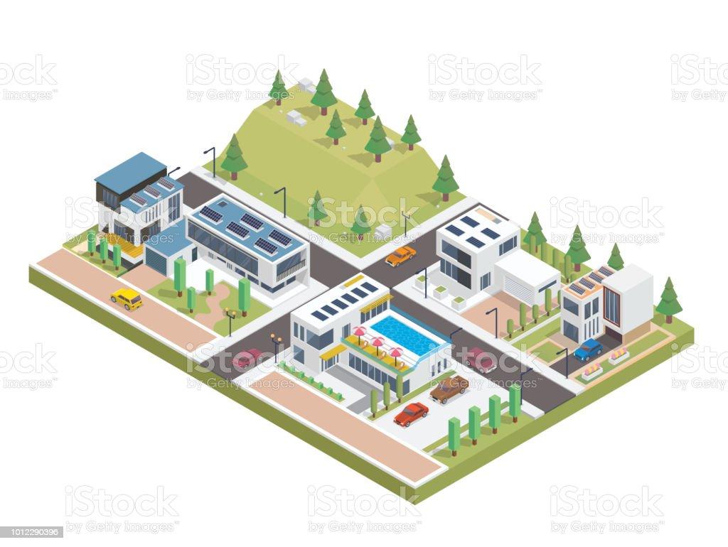 Lujo moderno isométrica Panel Solar verde ecológico complejo ilustración de vivienda - ilustración de arte vectorial