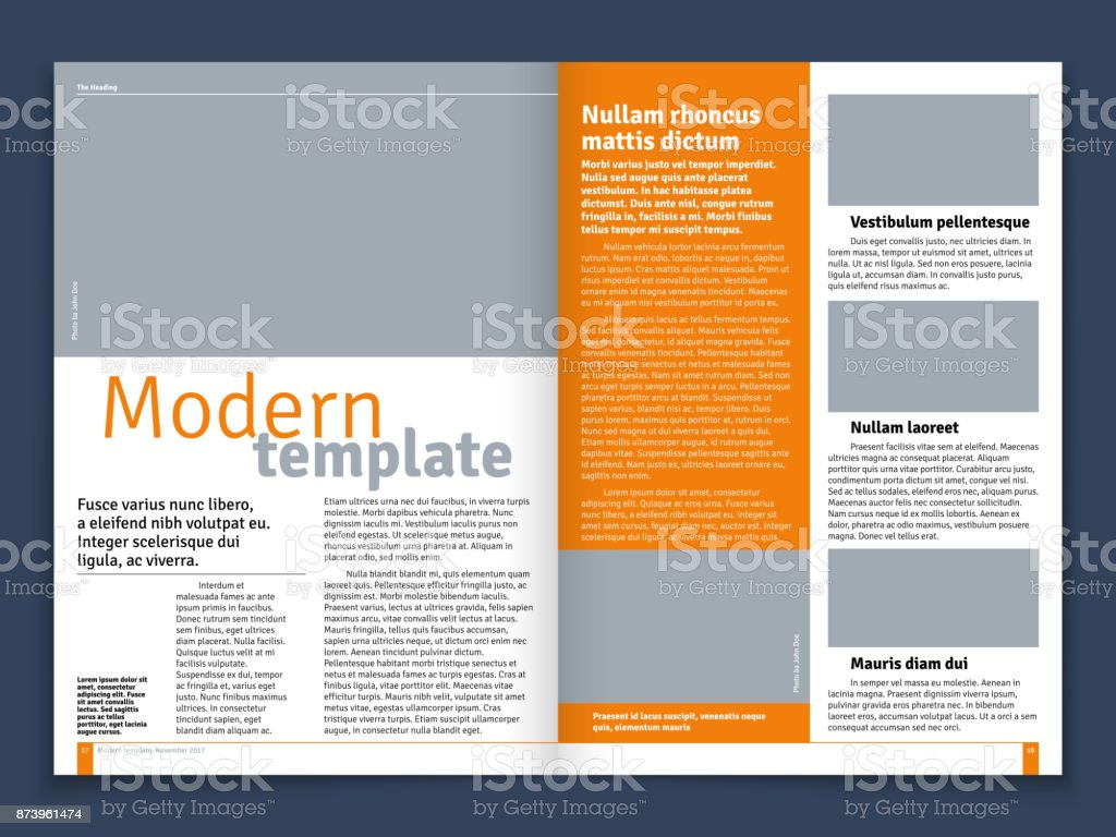 Modern magazine or newspaper vector layout with text modular construction and image places vector art illustration