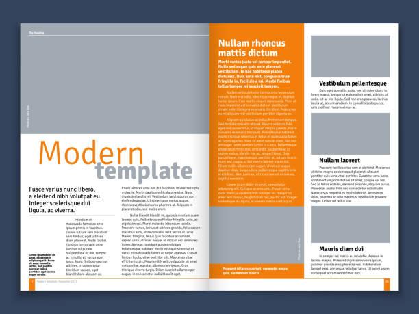 moderne zeitschrift oder zeitung vektor-layout mit text modulare konstruktion und bild stellen - zeitschrift grafiken stock-grafiken, -clipart, -cartoons und -symbole