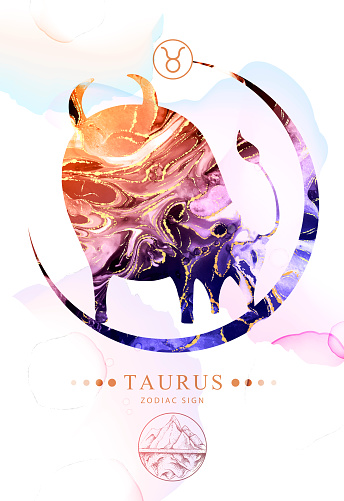 Modern magic witchcraft card with astrology Taurus zodiac sign  with alcohol ink texture. Zodiac characteristic. Marble texture background