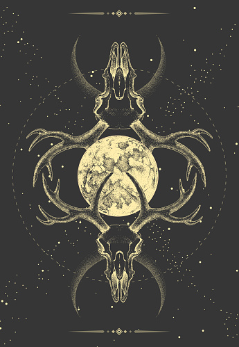 Modern magic witchcraft taros card with animal skull  and full moon on outer space background. Vector illustration