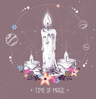 Modern magic witchcraft taros card with burning candle on astrology background. Vector illustration