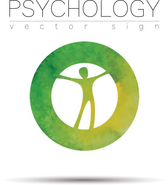 Modern man Sign of Psychology. Human in a circle. Icon in vector. Watercolor. Green color on white background. Symbol for web, print . vector art illustration