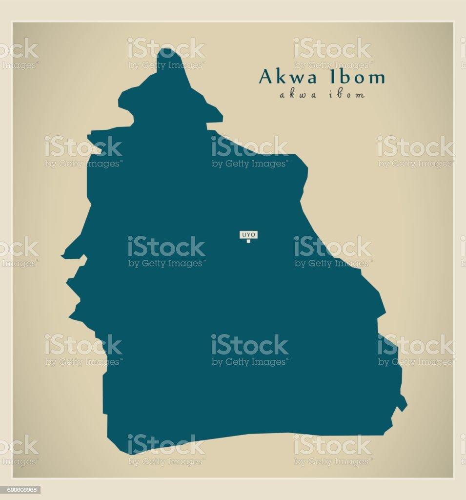 Modern Map - Akwa Ibom NG royalty-free modern map akwa ibom ng stock vector art & more images of cartography