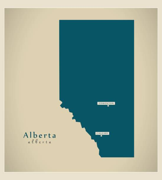 Modern Map - Alberta CA vector art illustration