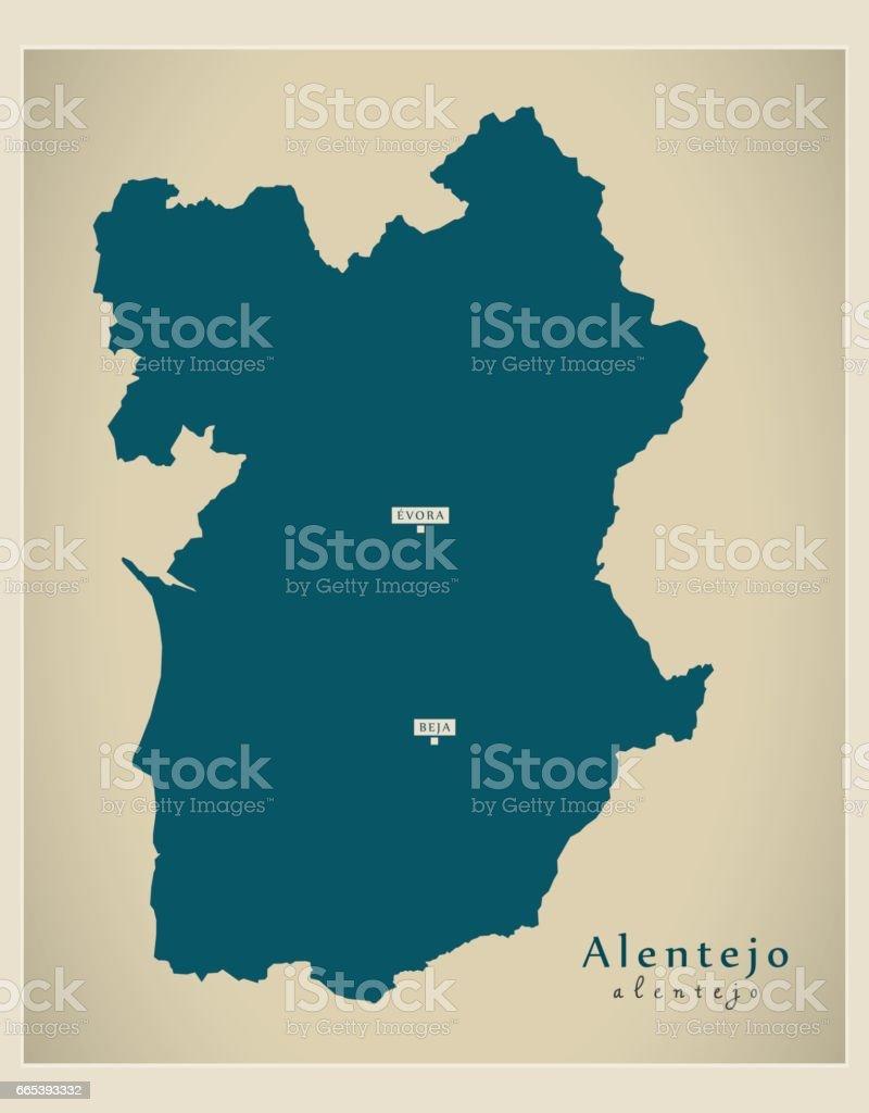 Modern Map - Alentejo Portugal refreshed PT - ilustração de arte vetorial