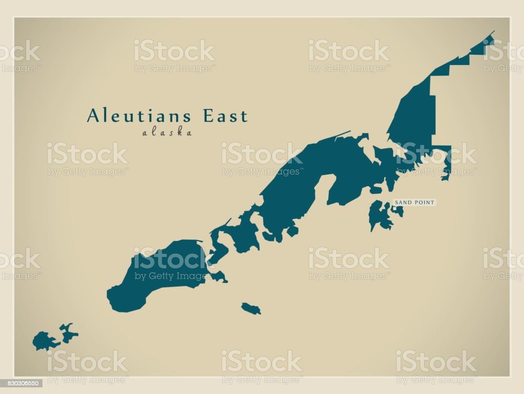 Moderne Karte Aleuten Ost Alaska County Usa Abbildung Stock ...