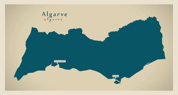 ilustrações de stock, clip art, desenhos animados e ícones de modern map - algarve portugal refreshed pt - algarve