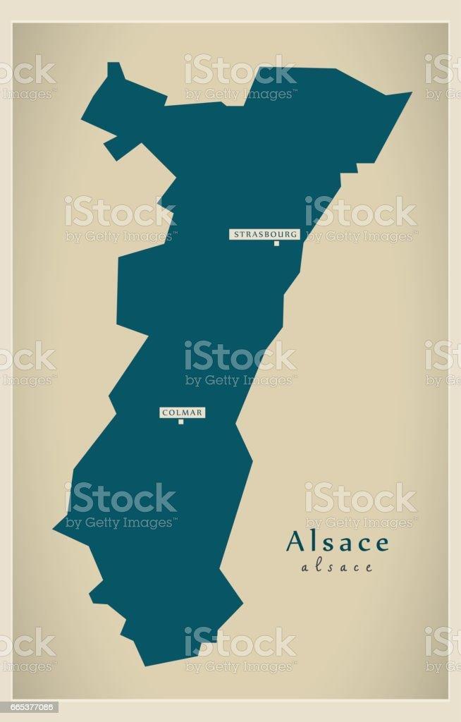 Carte moderne - Alsace FR France - Illustration vectorielle