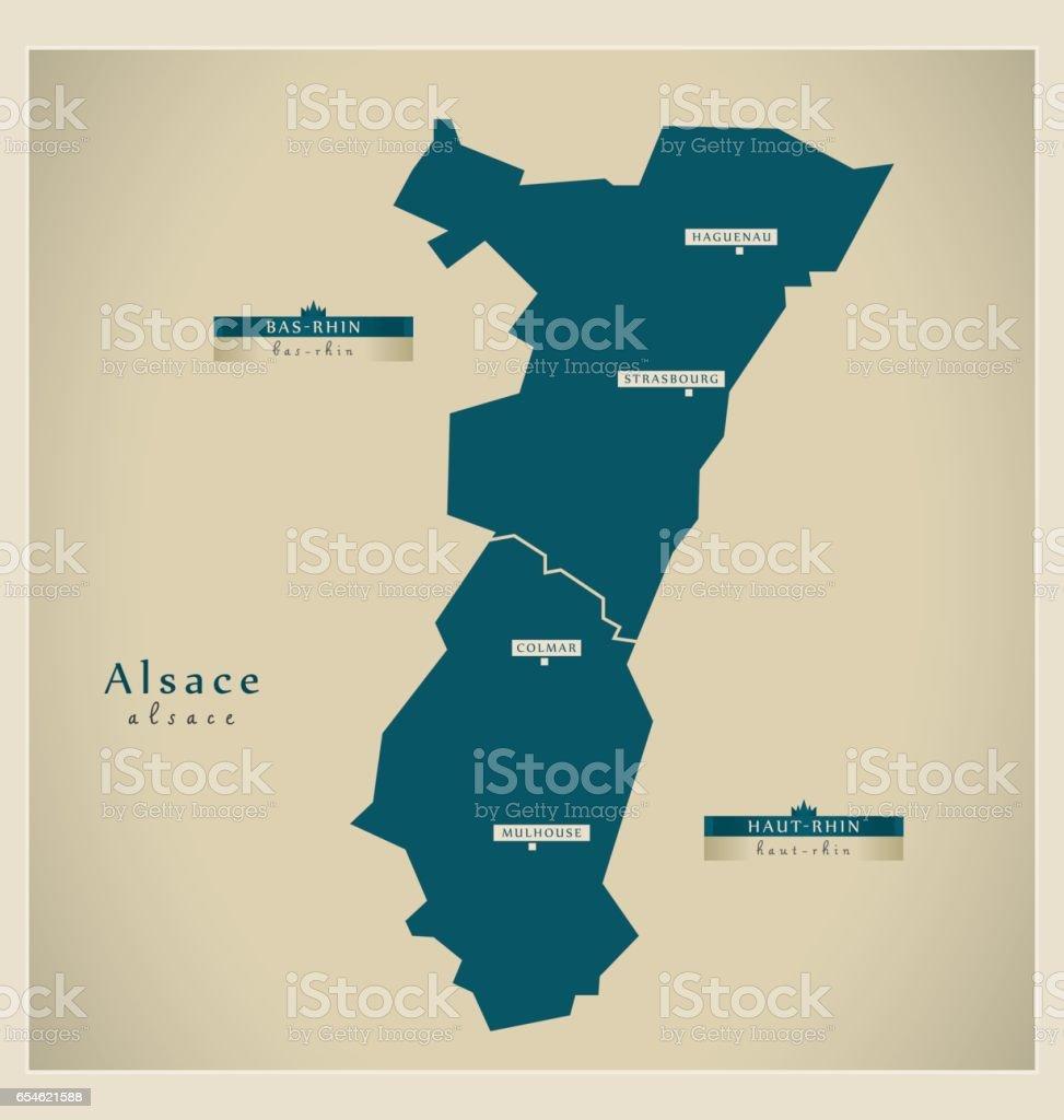 Carte moderne - Alsace FR - Illustration vectorielle