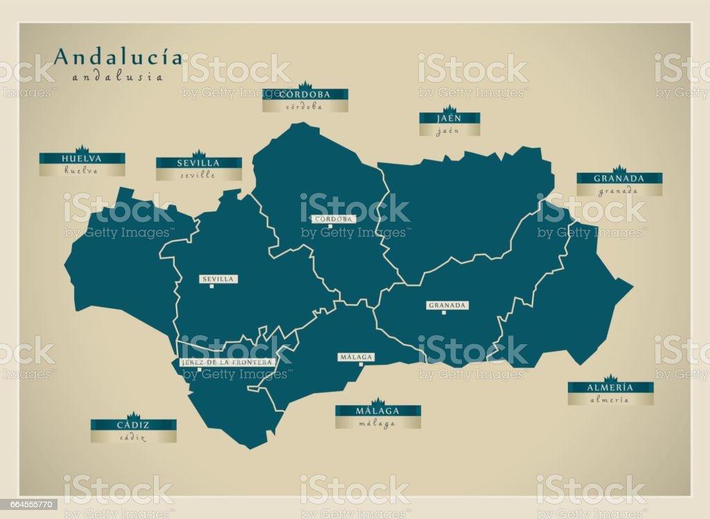Carte Geographique Andalousie.Carte Moderne Es De Landalousie Vecteurs Libres De Droits Et Plus D