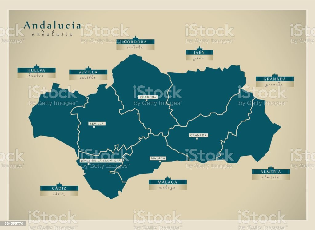 Modern Map - Andalusia ES vector art illustration