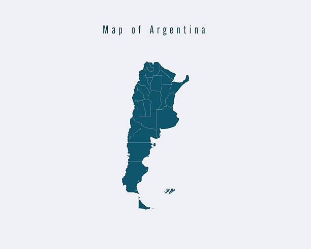 Modern Map - Argentina with federal states vector art illustration