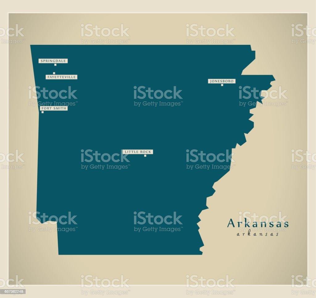 Modern Map - Arkansas USA vector art illustration