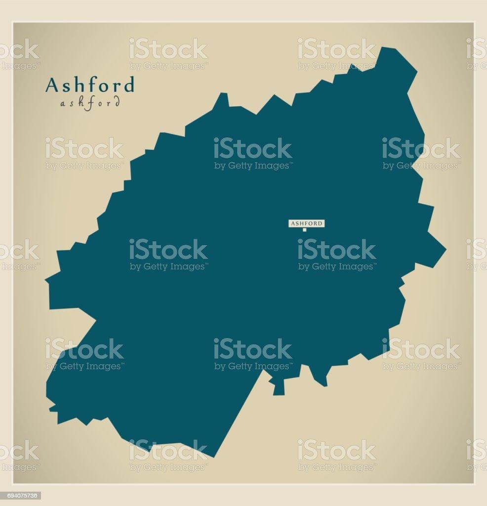 Carte Touristique Kent Angleterre.Carte Moderne Illustration De Quartier Uk Ashford Vecteurs Libres