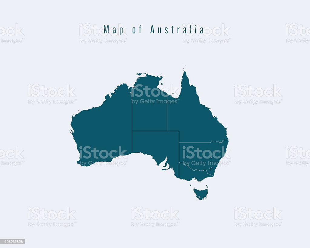 modern map australia with federal states royalty free modern map australia with federal states