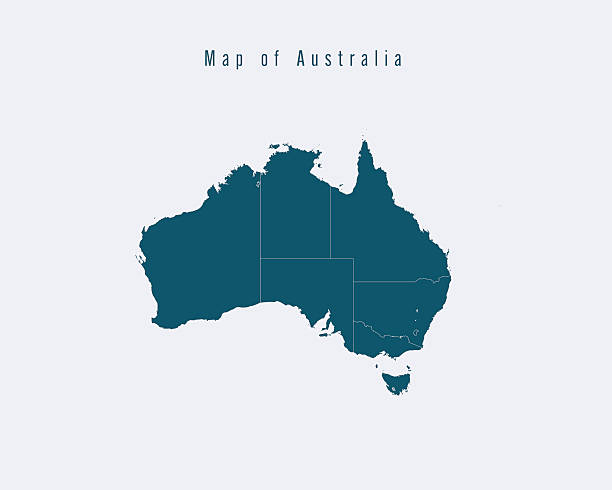 Modern Map -Australia  with federal states vector art illustration