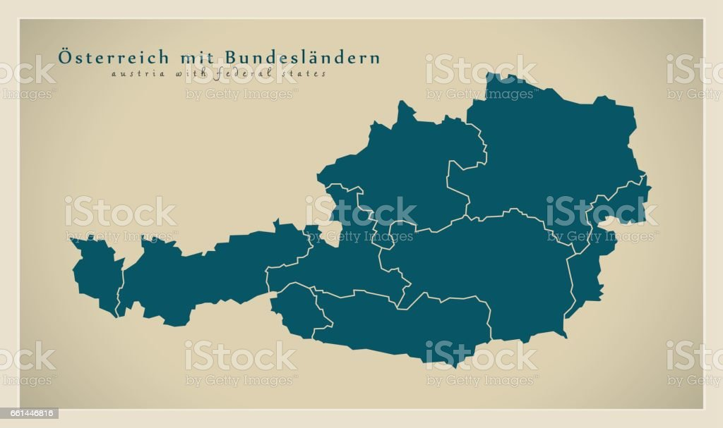 Modern Map - Austria with federal states AT vector art illustration