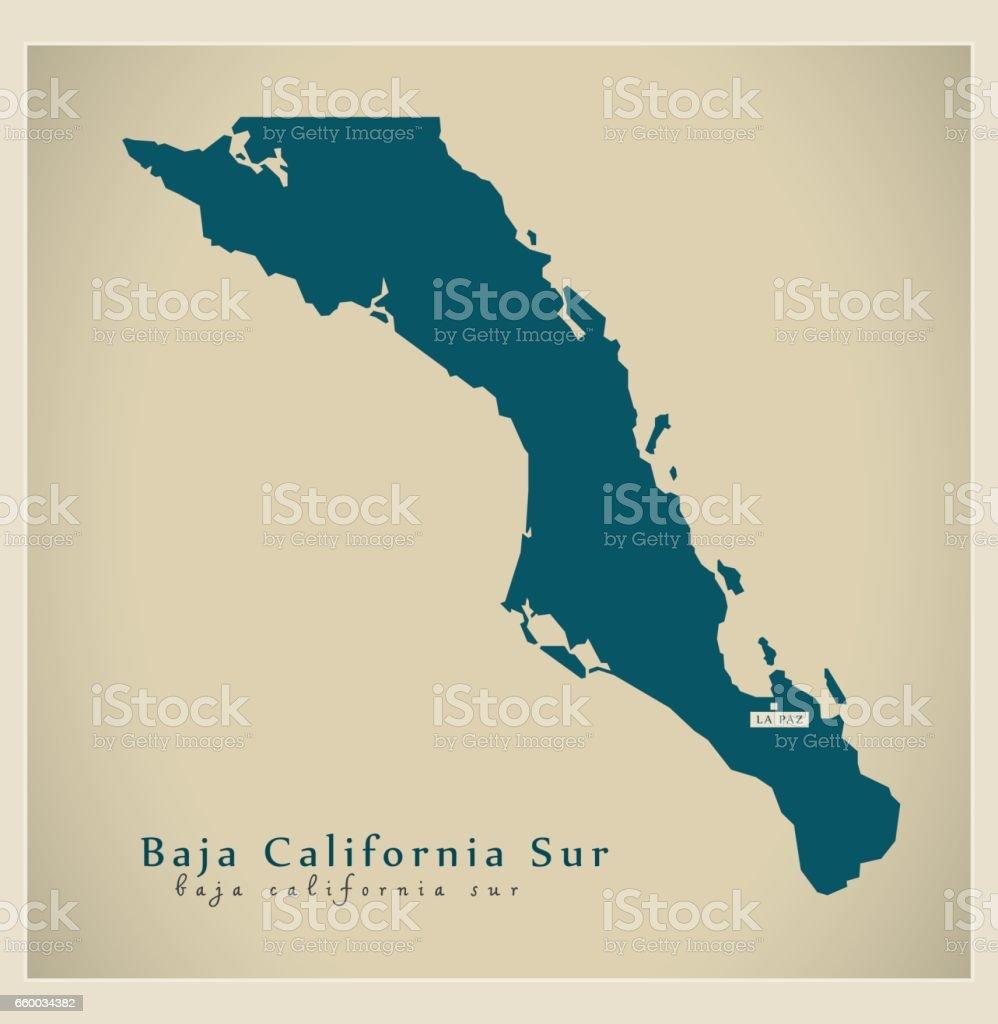 Mapa moderno - Baja California Sur MX - ilustración de arte vectorial