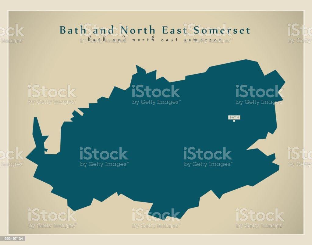 Modern Map Bath North East Somerset Unitary Authority England Uk