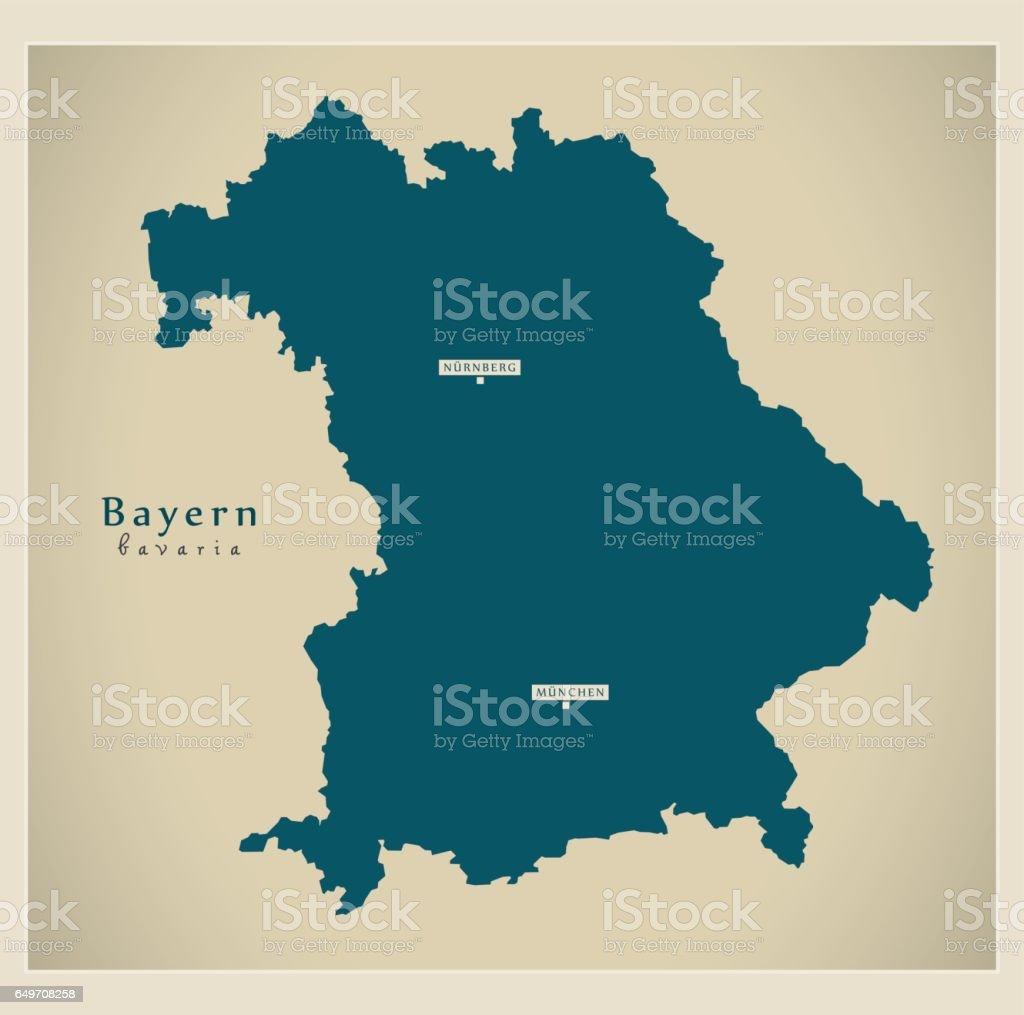 Moderne Karte - Bayern DE neues Design aktualisiert Abbildung – Vektorgrafik