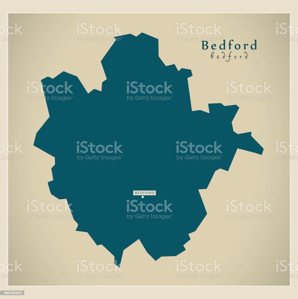 Modern Map - Bedford unitary authority England UK vector art illustration