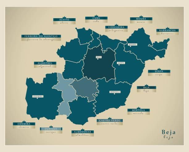 Modern Map - Beja PT - ilustração de arte vetorial