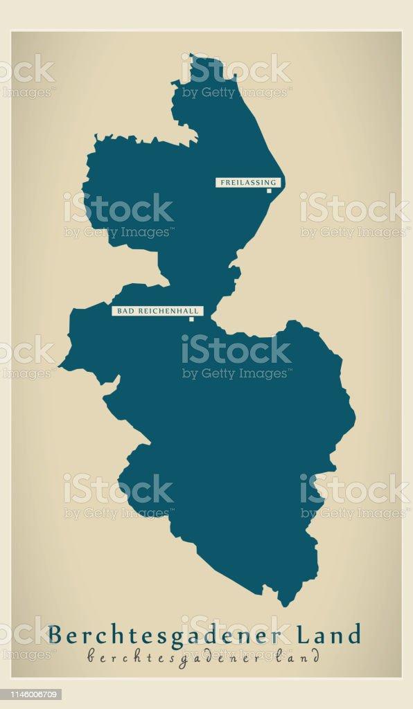 Berchtesgadener Land Karte.Moderne Karteberchtesgadener Land Landkreis Bayern De Stock Vektor
