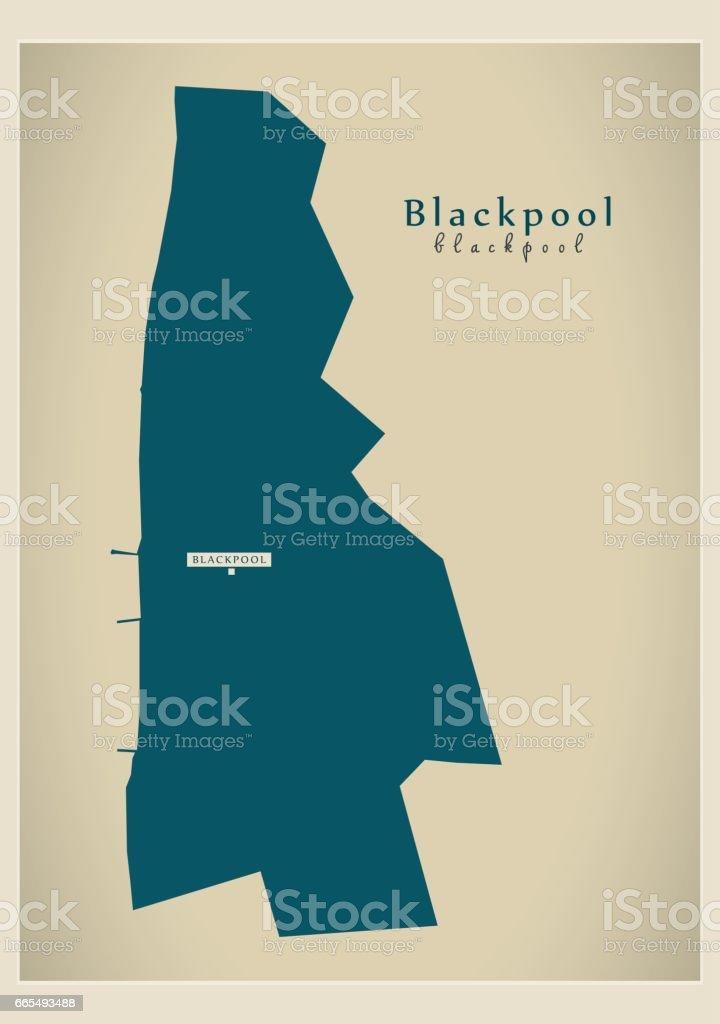 Modern Map - Blackpool unitary authority England UK vector art illustration