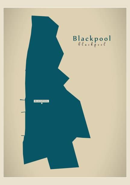 moderne karte - blackpool einheitliche berechtigung england uk - blackpool stock-grafiken, -clipart, -cartoons und -symbole