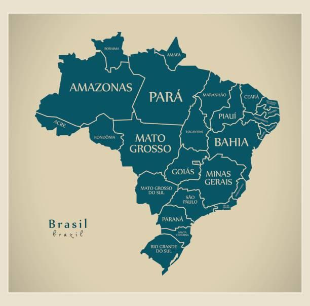 Moderno mapa - Brasil com BR distritos e rótulos - ilustração de arte em vetor