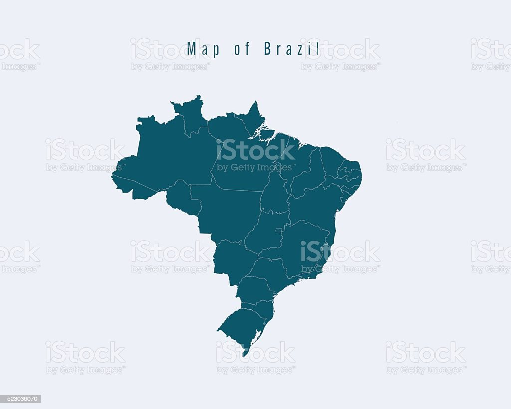 Modern Map - Brazil with federal states vector art illustration