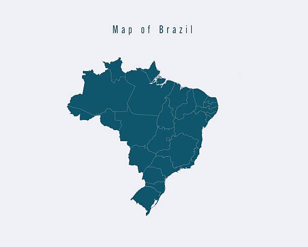 ilustrações, clipart, desenhos animados e ícones de moderno mapa-brasil com estados federais - brazil map