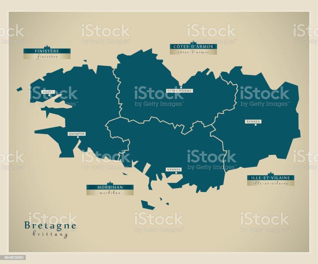 Carte moderne - Bretagne FR - Illustration vectorielle