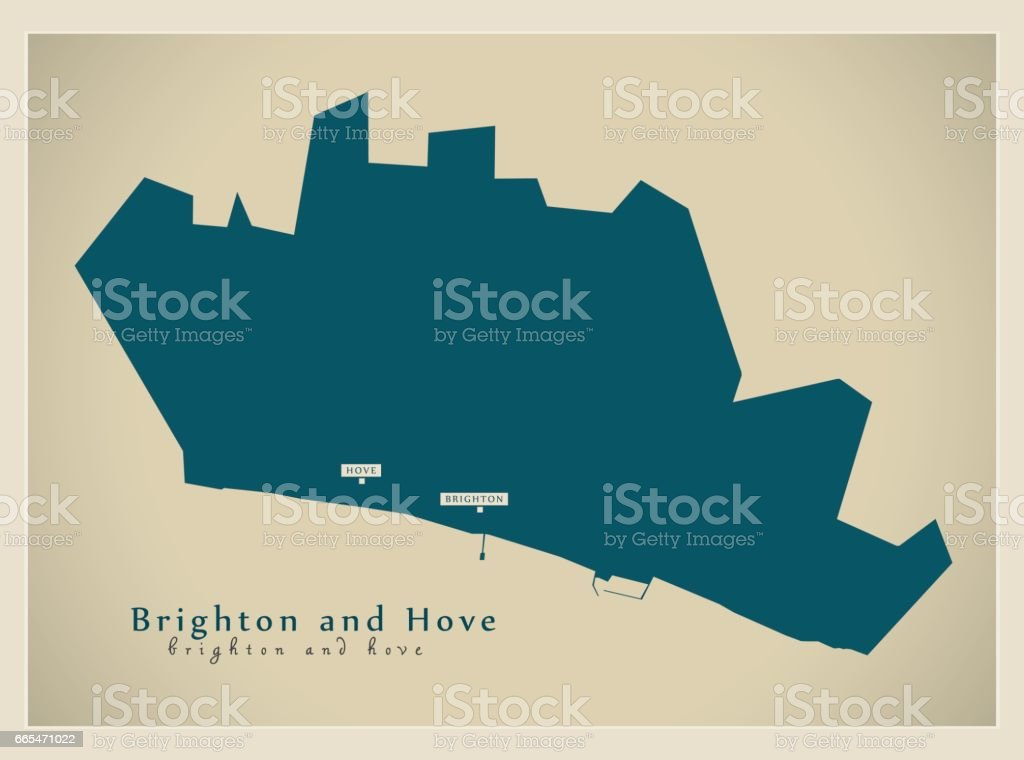 Modern Map - Brighton and Hove unitary authority England UK vector art illustration