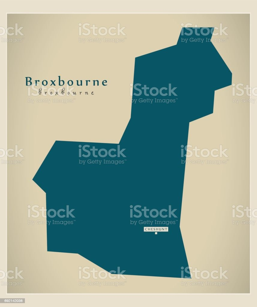 Modern Map - Broxbourne district UK illustration vector art illustration