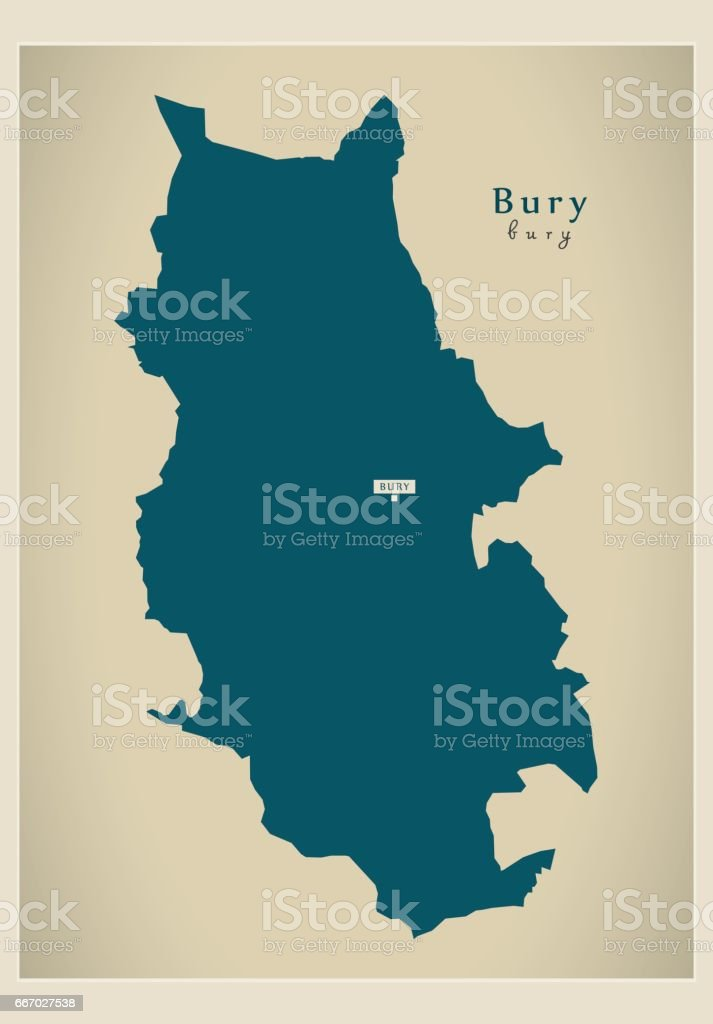 Map Of England Manchester.Modern Map Bury Borough Greater Manchester Uk England Stock