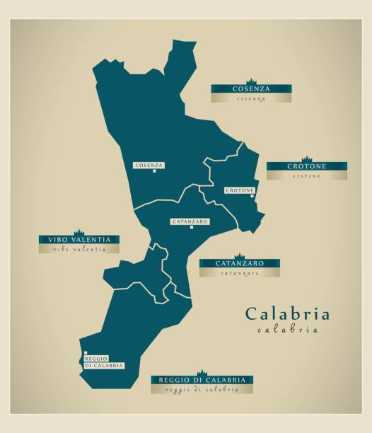 illustrazioni stock, clip art, cartoni animati e icone di tendenza di modern map - calabria it - calabria map
