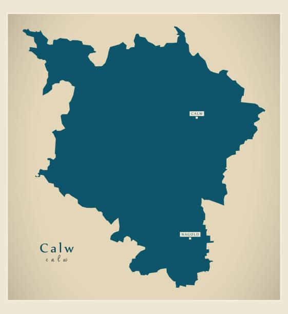 moderne karte-kreis calw baden-württemberg de - schwarzwald stock-grafiken, -clipart, -cartoons und -symbole