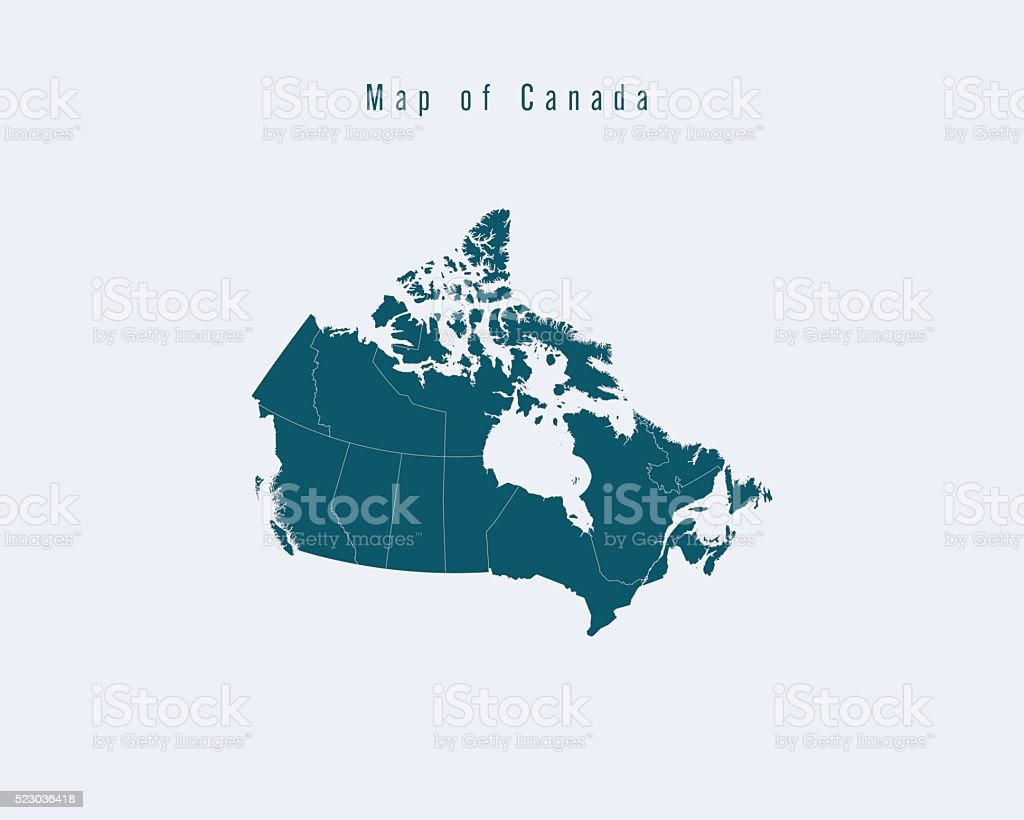 Modern Map - Canada with federal states vector art illustration
