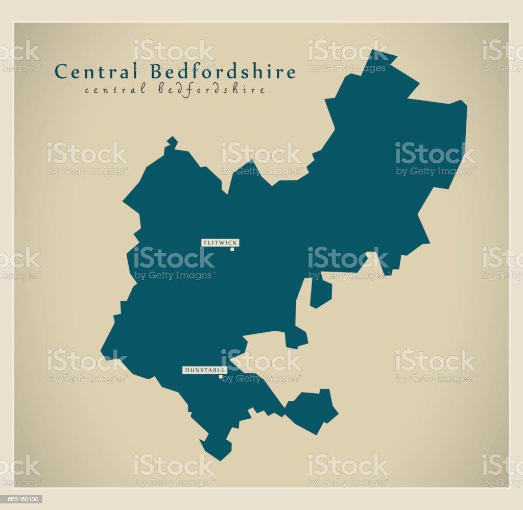 Modern Map - Central Bedfordshire unitary authority England UK vector art illustration