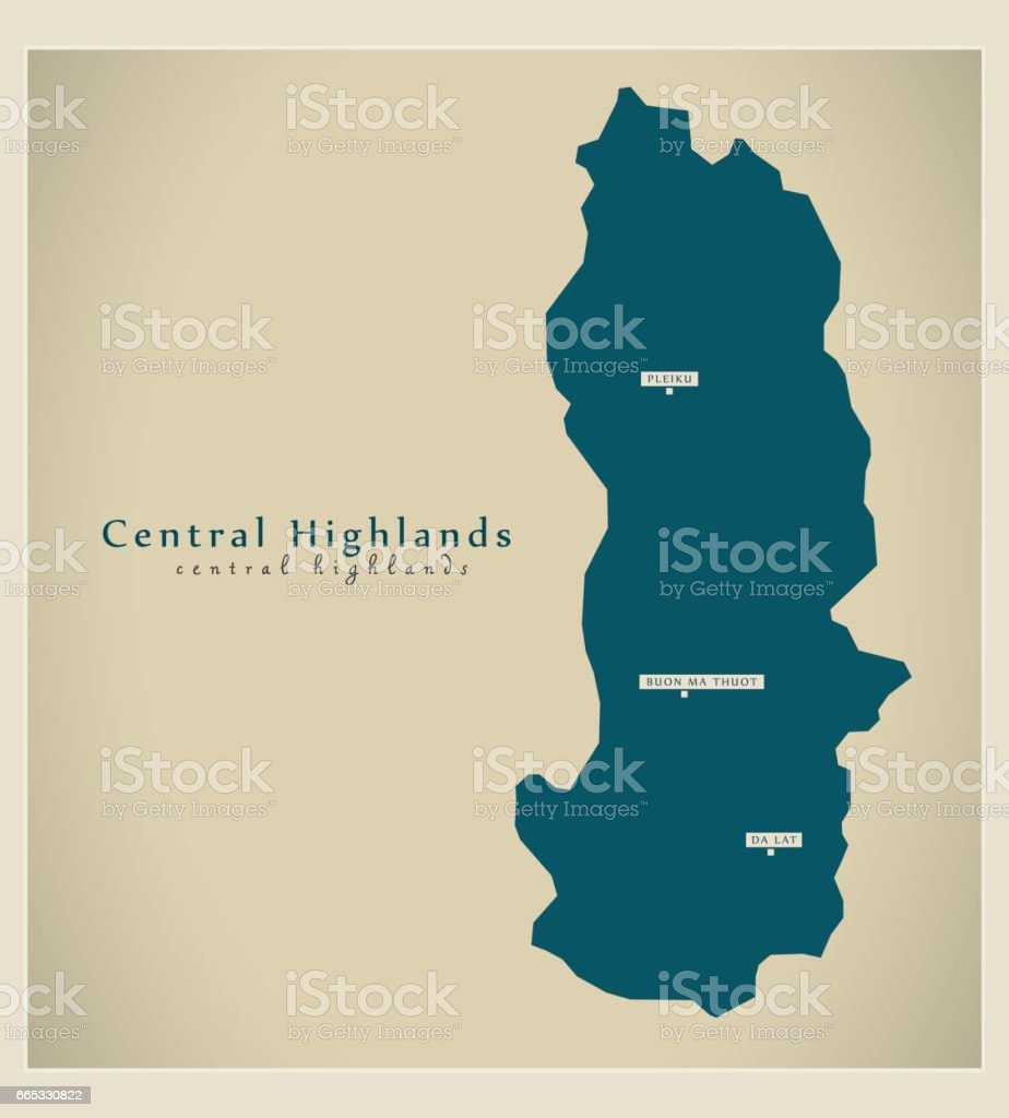 Modern Map Central Highlands Vn Stock Vector Art More Images Of