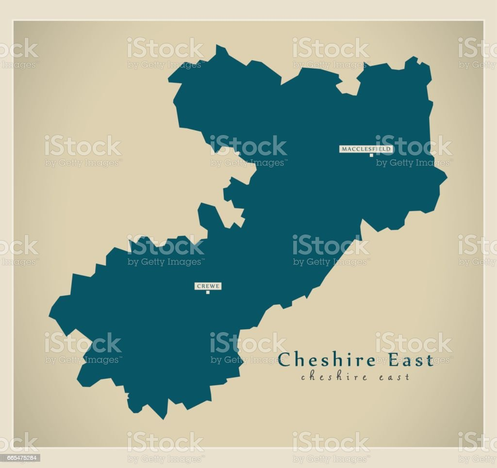 Modern Map Cheshire East Unitary Authority England Uk Stock Vector